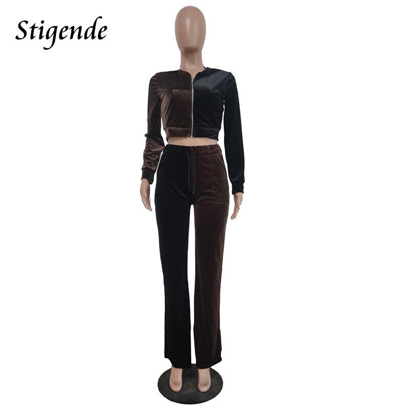 مجموعة من قطعتين من Stigende موضة ملابس رياضية للخريف للسيدات سترة غير رسمية بسحّاب قصيرة وسراويل برباط