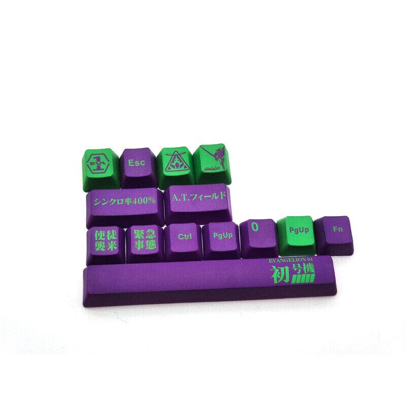 مفاتيح 118 للجنسين ، أغطية مفاتيح أنيمي EVA ، أغطية مفاتيح PBT OEM بلون بنفسجي 6.25X جديدة للوحة مفاتيح Cherry MX ، اللغة الإنجليزية بدون لوحة مفاتيح
