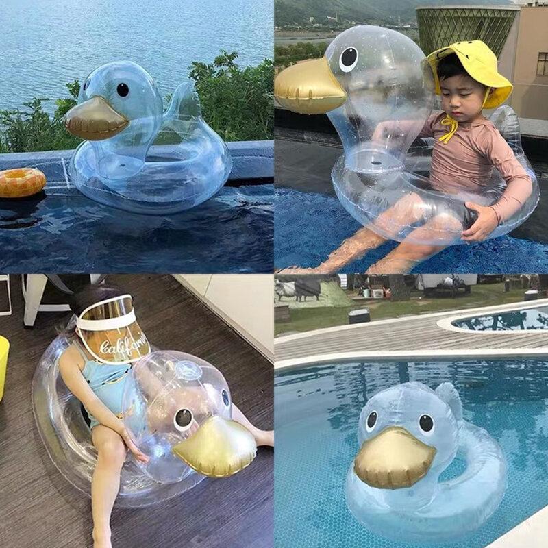 طفل الفتيات الصبي عوامة للسباحة نفخ لطيف شفاف بطة السباحة حلقة المقعد للأطفال الرضع طفل الاطفال الإبطين دائرة للأطفال 0-4 سنوات