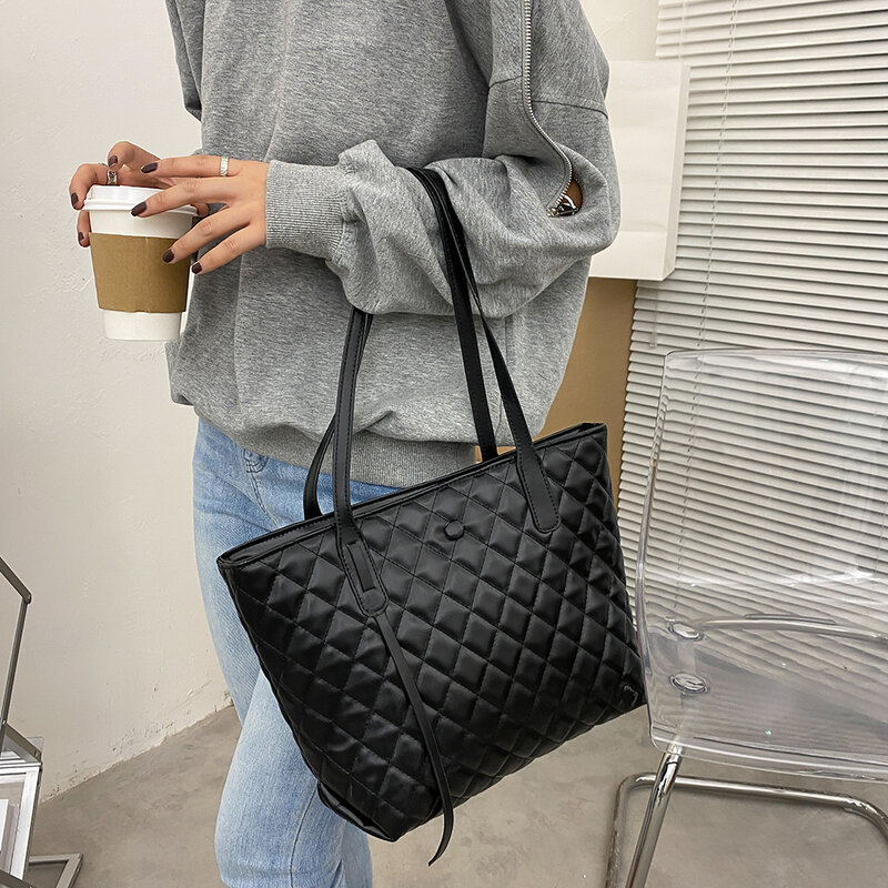 شعرية نمط المرأة سعة كبيرة علوية-حقائب بيد جلدية عادية الكتف حقائب موضة حقيبة تسوق رائعة