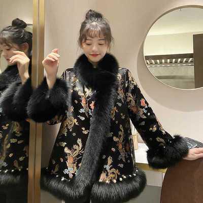 ملابس من فرو الثعلب المقلد للنساء ، موضة جديدة ، ستايل صيني ، مشهور ، متوسط الطول ، فرو ، فرو ، موضة 2021