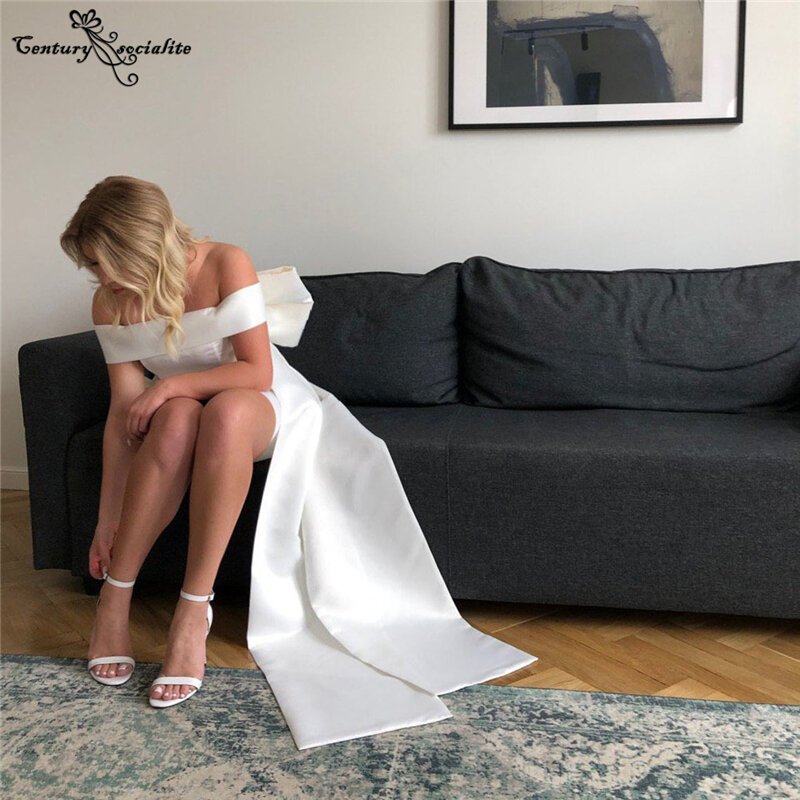 الساتان فساتين الزفاف قصيرة مع انفصال القوس الكبير قبالة الكتف فستان عروس بسيط الشاطئ زي العرائس رداء دي ماري 2021