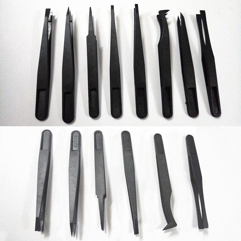 6 قطعة مكافحة ساكنة ألياف الكربون الإلكترونية ملاقط عدة ESD البلاستيك ملقط PCB إصلاح اليد أدوات ل مختبر العمل الالكترونيات