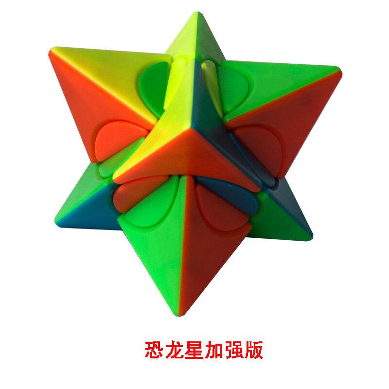 FangShi Lim انحراف هرمي ملون ستيكيرليس مكعب السرعة شكل غريب المكعب السحري الدماغ دعابة ستيكيرلس كوبو ماجيكو