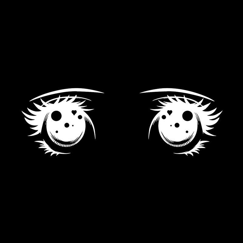 OFK الكرتون فتاة عيون الرموش ملصق سيارة عالية الجودة ديكور الفينيل أسود/فضي 15*5.1 سنتيمتر