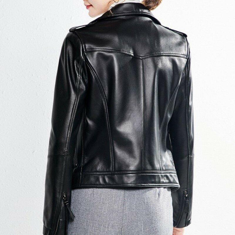 سترة عصرية للنساء 100% مصنوعة من جلد الغنم الطبيعي معطف مناسب للتنزه في المكاتب معطف ربيعي لركوب الدراجات النارية جاكيت قصير من الجلد الطبيعي