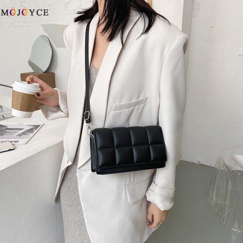 موضة شعرية نمط حقيبة ساع للنساء 2021 بولي Leather جلد صغير مربع رفرف الصلبة عادية السفر الكتف حقائب كروسبودي