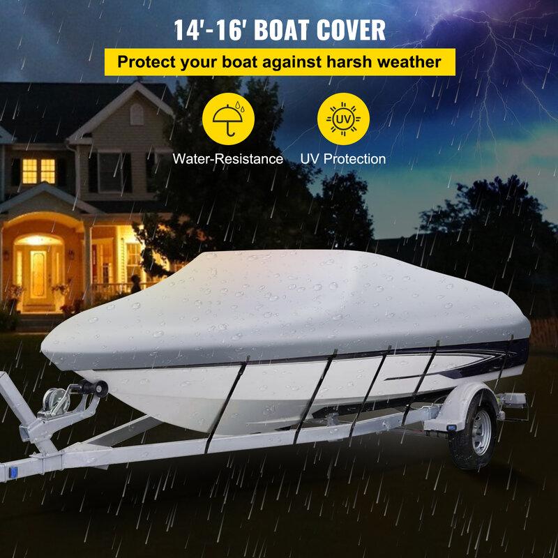 VEVOR الخامس بدن غطاء قارب 600D 3 طبقة أكسفورد مواد النسيج حماية لجميع المواسم مع حقيبة التخزين و 5 قطعة الأشرطة قابل للتعديل
