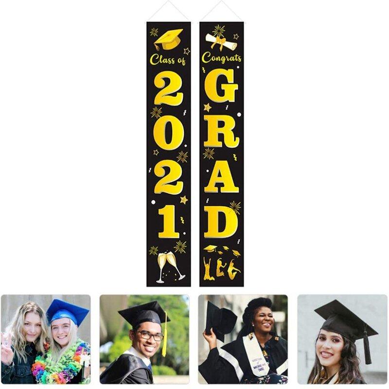 1 زوج التخرج الشرفة علامة فئة من 2021 باب راية تهنئة علامات التخرج للزينة حفلة التخرج