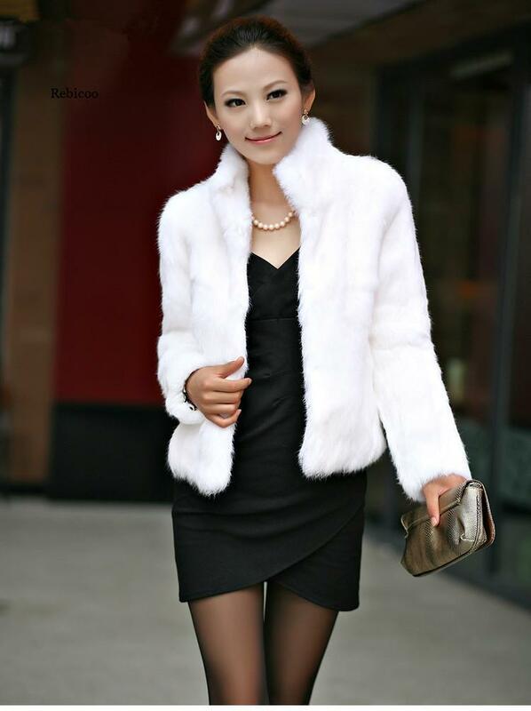 المرأة فو الفراء معطف سليم فروي موضة كم طويل الوقوف طوق معطف الفرو فو ريكس الأرنب الفراء معطف الإناث حجم كبير