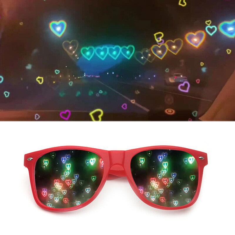 الحب شكل قلب النظارات الشمسية النساء PC ضوء الإطار تغيير الحب القلب عدسة نظارات شمسية ملونة الإناث الأحمر الوردي ظلال السحرية