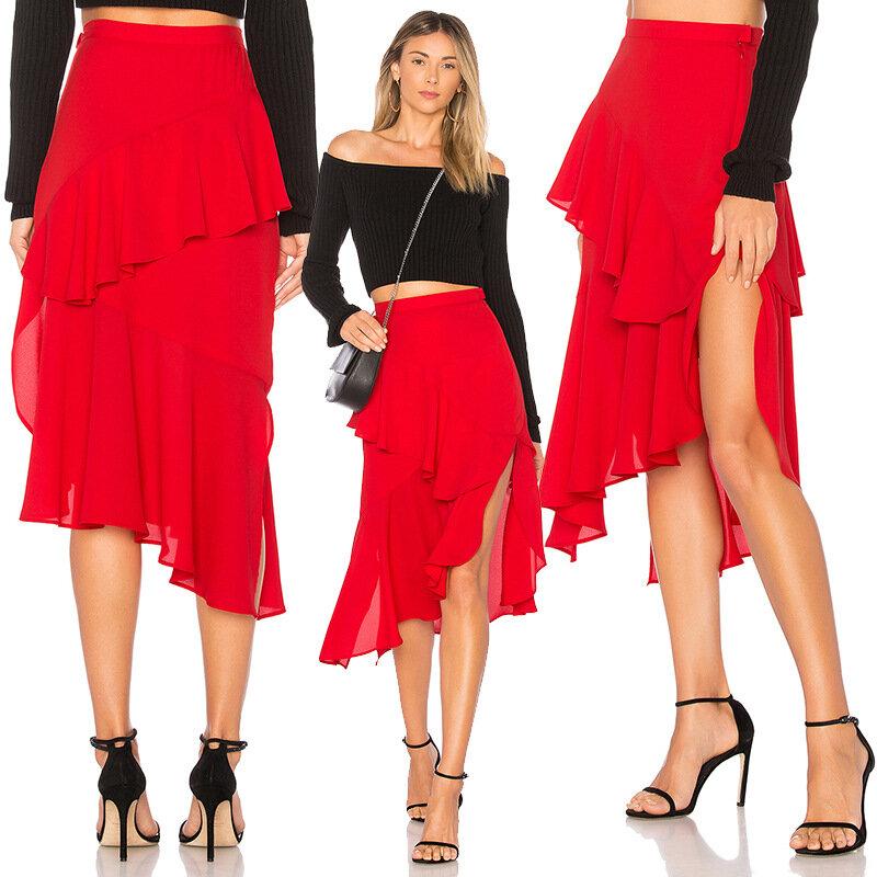 ربيع الخريف الخارجي الموضة تنورة المرأة عادية أنيقة تسوق الحفلات مزاجه النمط الأوروبي السيدات بلون أحمر تنورة