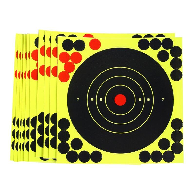 10 قطعة من ملصقات ملونة ملونة لهدف الفلورسنت مضيئة بأبعاد 8 بوصة ، ملصقات للتصويب الهدف اللاصق ، تصويب الهدف