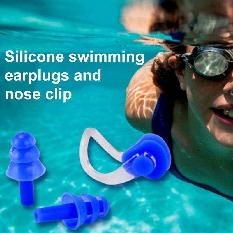 50% HOT3Pcs/مجموعة لينة دائم سيليكون مقاوم للماء سدادات الأذن مشبك الأنف دعوى للسباحة