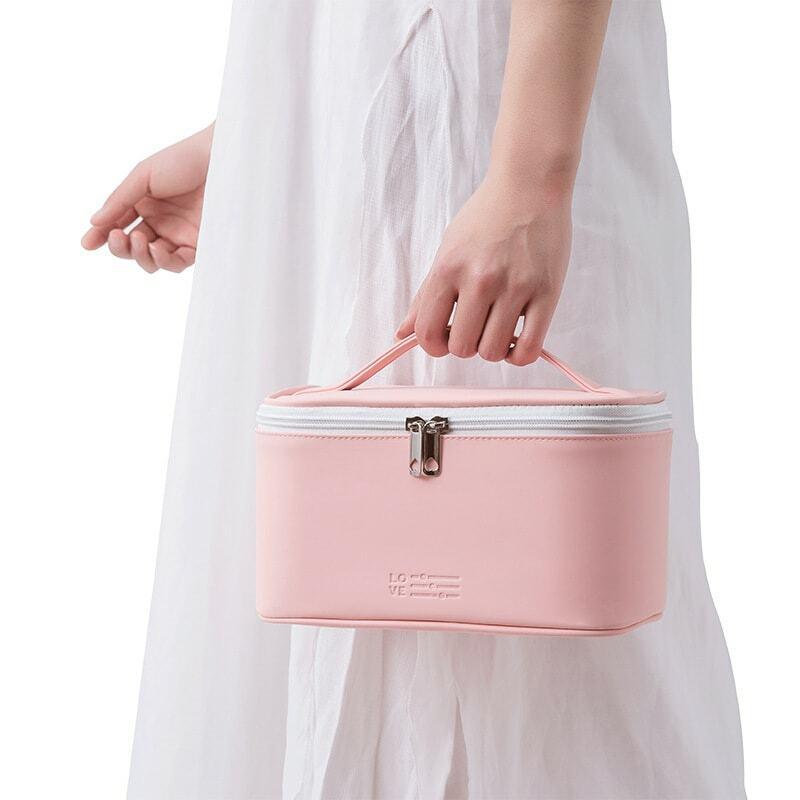 سعة كبيرة النساء حقيبة مستحضرات التجميل بو الجلود سحاب عازل للماء يشكلون حقيبة السفر غسل ماكياج المنظم الجمال أدوات الزينة
