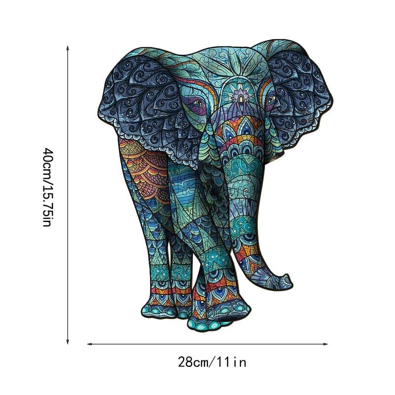 الفيل القبلية خشبية لغز فريد شكل قطع الحيوان للكبار والأطفال لعبة الأطفال ما قبل المدرسة السحر الفكرية