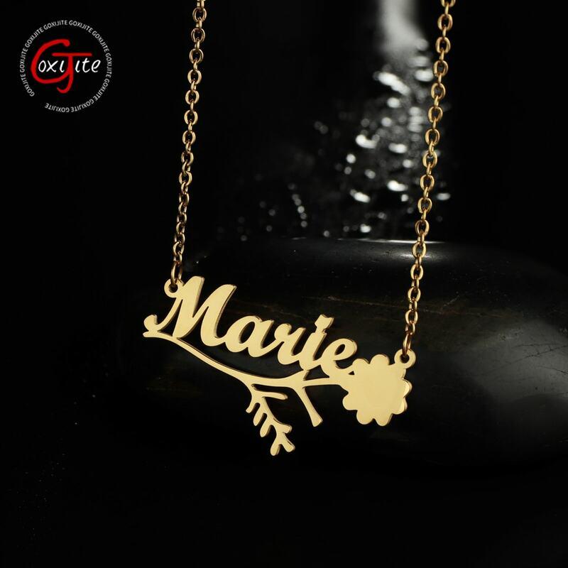 شخصية اسم الزهور قلادة للنساء فتاة الفولاذ المقاوم للصدأ لوحة قلادة قلادة مخصص Vintage مجوهرات هدية