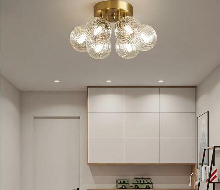الحديثة الإبداعية مصباح السقف غرفة المعيشة مصباح النحاس غرفة نوم فاخرة ماجيك فول كرة زجاجية عاكس الضوء مطعم إضاءة زينة المنزل