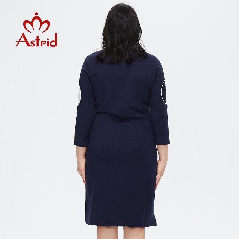 استريد المرأة فستان صيفي 2021 للنساء عادية أنيقة خمر كبير حجم كبير مكتب طباعة ميدي فساتين قطنية الماس الحرفية