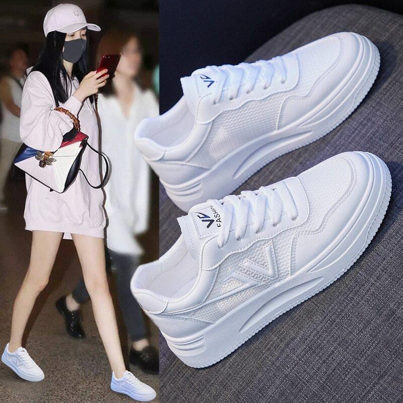 أحذية رياضية بيضاء صغيرة تسمح بالتهوية أحذية نسائية للربيع النسخة الكورية الجديدة من أحذية سميكة سوليد أحذية للطالبات في الشارع أحذية Zapatos ...