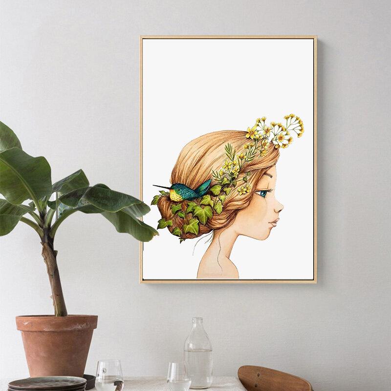 الكرتون لطيف فتاة زهرة الطيور قماش اللوحة الشمال الحضانة ملصق جدار الفن الطباعة للطفل غرفة ديكور المنزل جدار الصورة