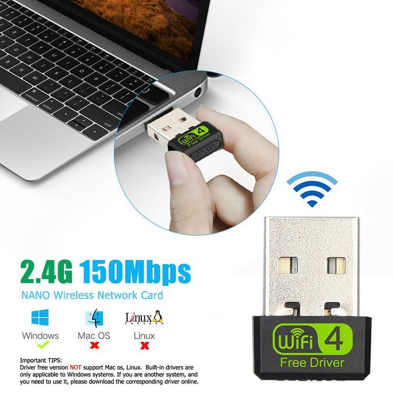 سائق حر USB صغير واي فاي محول 150Mbps واي فاي استقبال للكمبيوتر USB إيثرنت 2.4G محول الشبكة هوائي ل حاسوب شخصي مكتبي كمبيوتر محمول