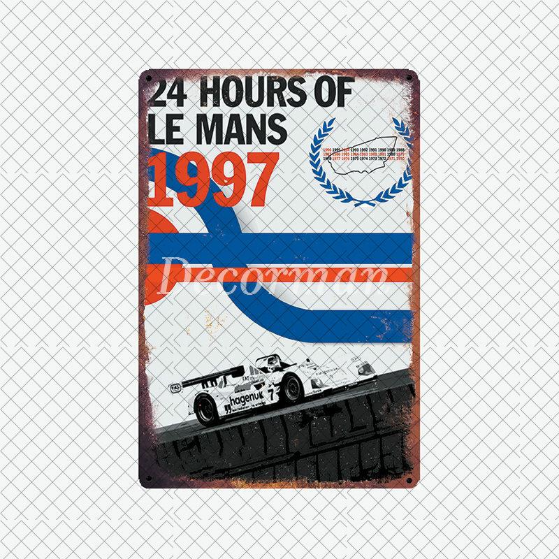[ديكورمان] 24 ساعة فرنسا لومان سيارة معدن القصدير تسجيل مخصص جدار بوزر حانة غرفة نادي VIP غرفة ديكور LTA-2036