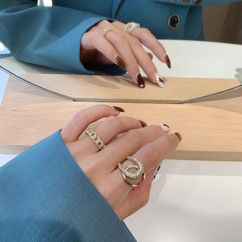 كوريا تصميم جديد مجوهرات الأزياء 14K الذهب الحقيقي الكهربائي رسالة الزركون خاتم أنيق المرأة افتتاح حلقة قابل للتعديل