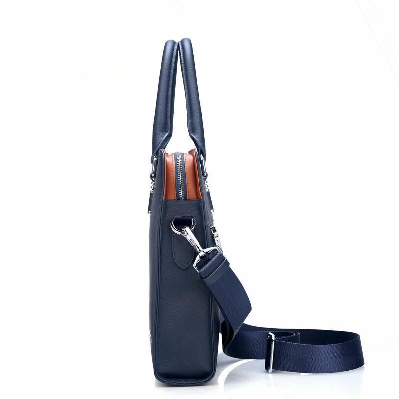 رجال الأعمال حقيبة جلدية حقيقية حقيبة الكمبيوتر ملف حزمة الكتف حقيبة ساعي جودة عالية 14 بوصة حقائب الكمبيوتر المحمول