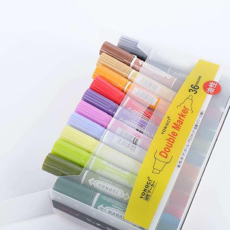 كبير مزدوج الرأس مجموعة أقلام ملونة استوديو الإعلان البوب ماركر 36 لون طالب اللوحة القلم