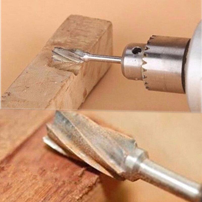 10 قطعة 1/8 HSS التوجيه لقم مجموعة الروتاري نتوءات أدوات الخشب الجذر نحت الطحن القاطع