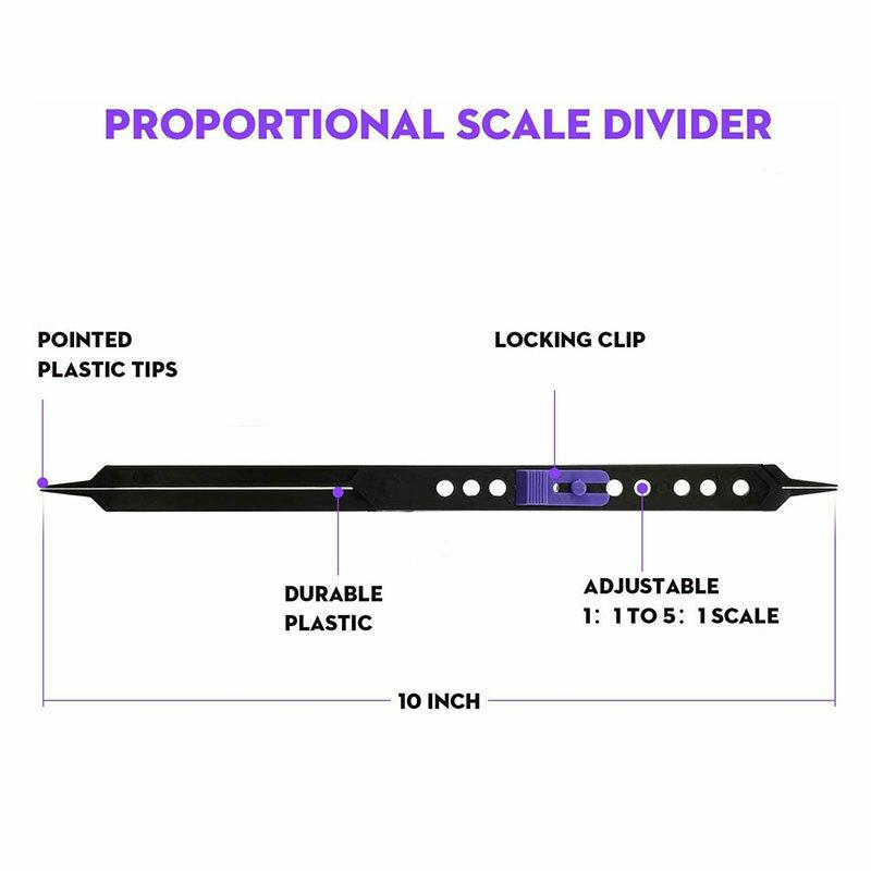 10 بوصة مقياس النسبي مقسم أداة الرسم للفنانين قابل للتعديل البلاستيك OCT998