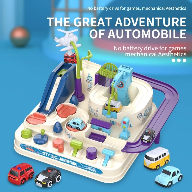 4 اللون اختياري الكرتون سباق السكك الحديدية سيارة المسار سيارة مغامرة لعبة نموذج ميكانيكي سباق ألعاب قطار تعليمية للأطفال