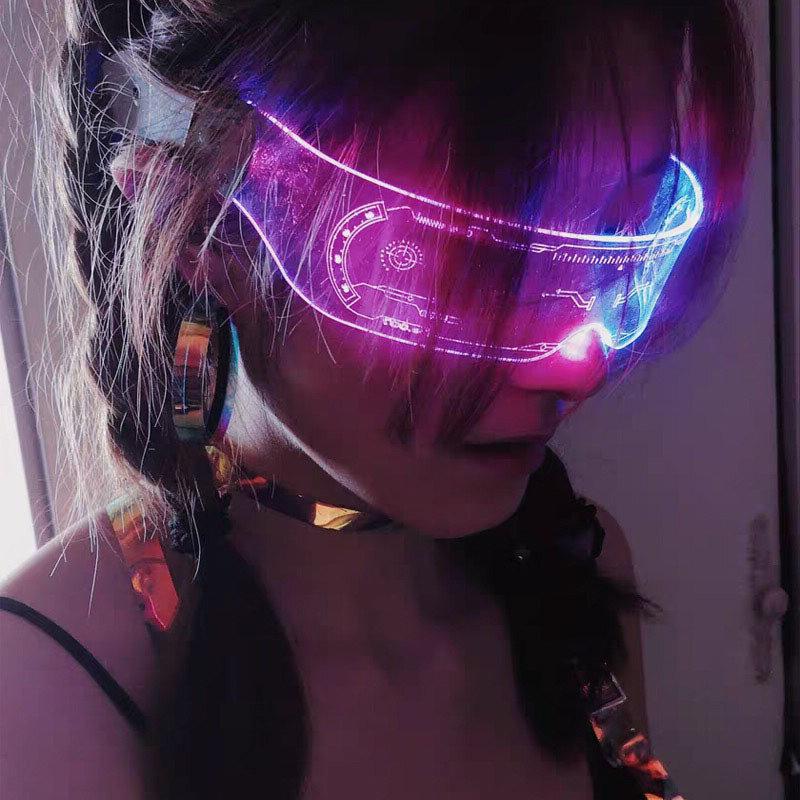 الاتجاه الشعبي للنظارات لوح LED مضيء ، والتكنولوجيا المستقبلية ، والشعور الاهتزاز ، ونفس نمط شريط ، نظارات البنغدي وامض