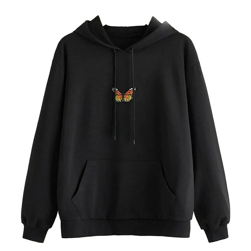 المرأة الفراشة هوديس عادية بلايز كم طويل الرباط البلوز بلوزات مع جيب