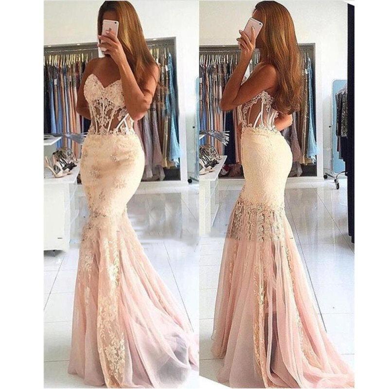 فستان سهرة حورية البحر ، شفاف ، أكتاف عارية ، دانتيل ، مطرز ، فستان تخرج