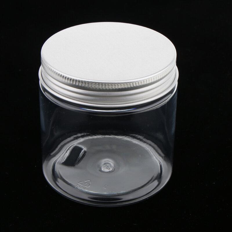5 قطعة 200 مللي الألومنيوم واضح البلاستيك التجميل يمكن القصدير وعاء جرة حاوية فارغة