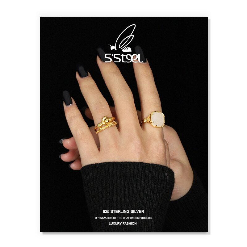 خواتم كريستالية من S'STEEL خواتم فاخرة مصممة من الفضة الإسترلينية عيار 925 خواتم مفتوحة هندسية ذهبية للنساء مجوهرات راقية 2021