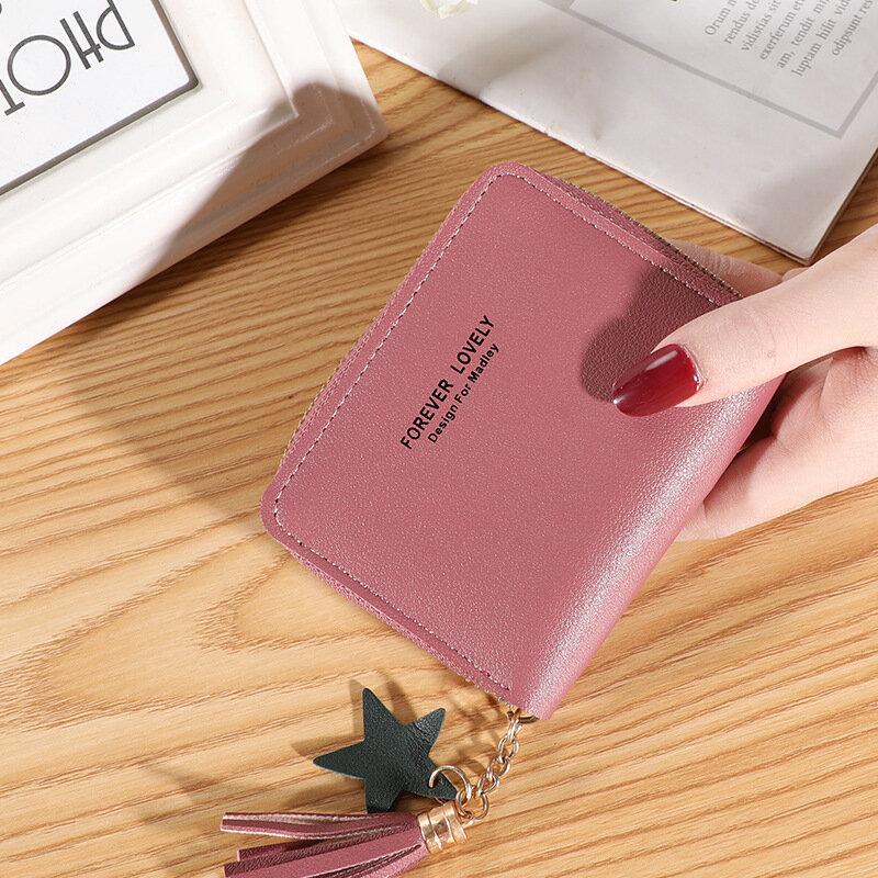 لطيف محافظ صغيرة للنساء السيدات محفظة نسائية للعملات المعدنية شرابة حامل بطاقة سستة قصيرة أكياس المال لينة حقائب يد جلدية carteira الأنثوية