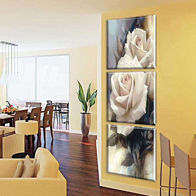 لوحات مطرزة بزهور وردية فاخرة ، 3 قطع ، ديكور منزلي ، لوحة ماسية خماسية الأبعاد ، مربعة/مستديرة