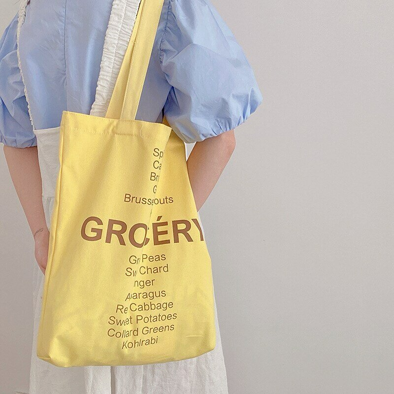 المرأة حقيبة تسوق قائمة البقالة تصميم السيدات لطيف الألوان حقيبة كتف ايكو قماش حقيبة يد قابلة لإعادة الاستخدام القطن قماش من الألياف حمل