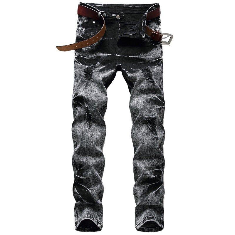 بنطلون جينز رجالي ضيق مستقيم مناسب للخريف بناطيل ضيقة بمقاسات كبيرة موضة أسود ورمادي