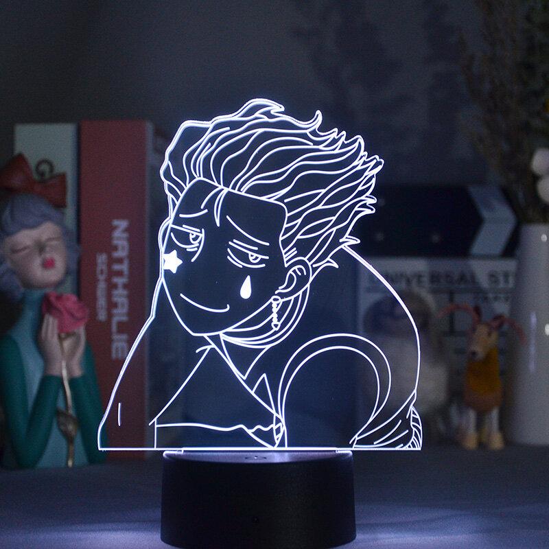 الاكريليك الجدول مصباح أنيمي Hisoka Meme الشكل للمنزل غرفة إضاءة زينة كول الاطفال الطفل هدية مانغا هنتر X هنتر LED ضوء الليل