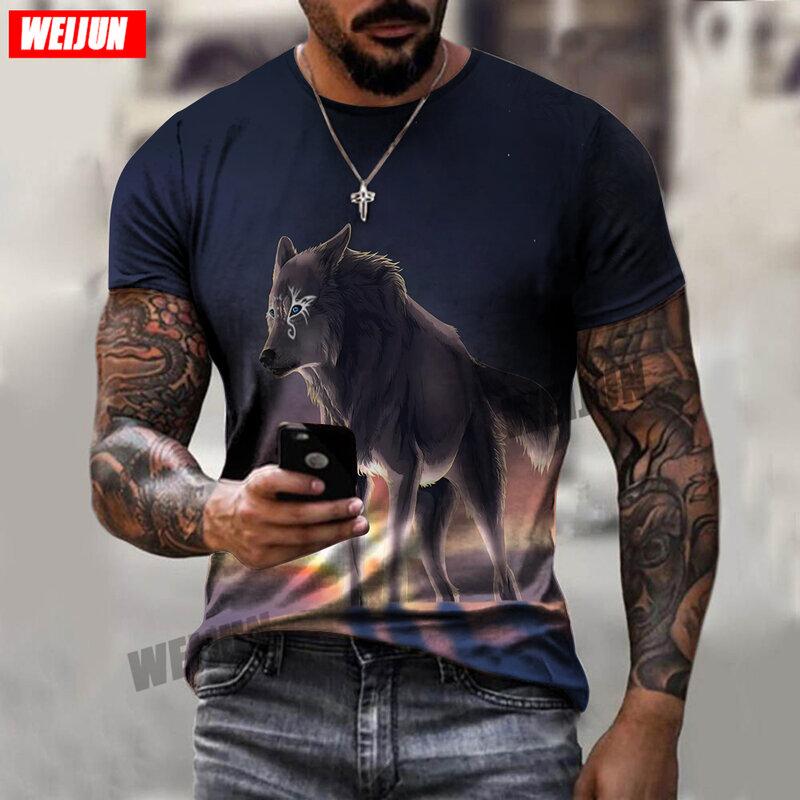 صيف 2021 جديد الوحش تي شيرت الذئب نمط قصيرة الأكمام قميص عادية تنفس قميص كبير الحجم 3d-print تي شيرت
