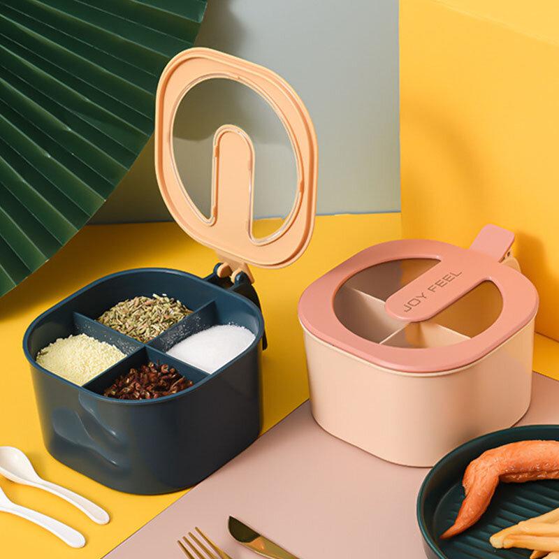 صندوق توابل بأربعة شبكات ، برطمان ملح ، منظم تخزين ، أواني مطبخ صلبة ، أدوات منزلية