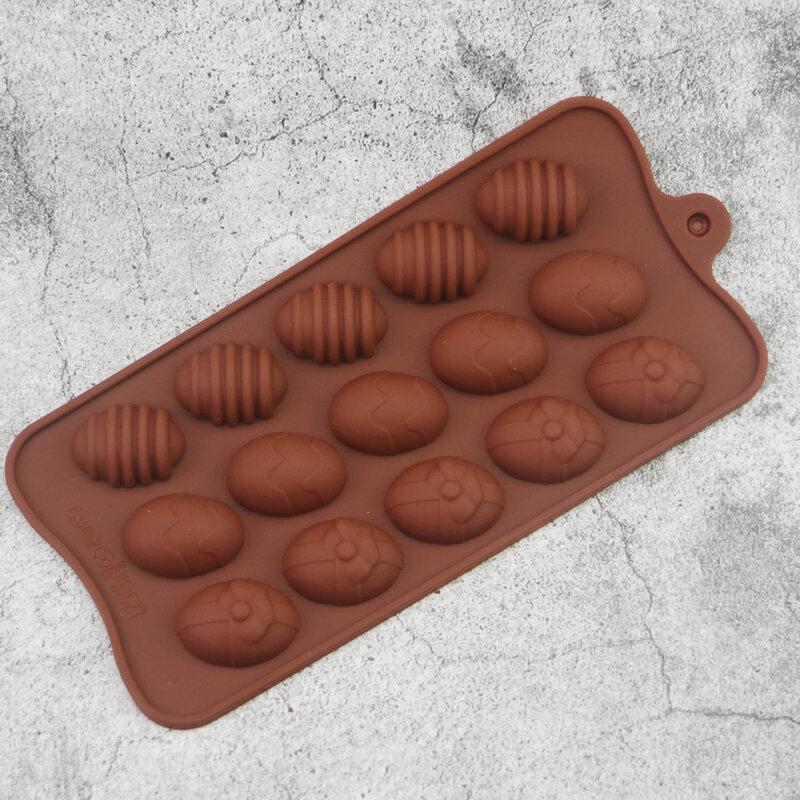 البيض قوالب أدوات الديكور بيض عيد القيامة دائم الغبار 15 شبكة لون الحلوى قابلة لإعادة الاستخدام DIY بها بنفسك الخبز اكسسوارات صحية سيليكون