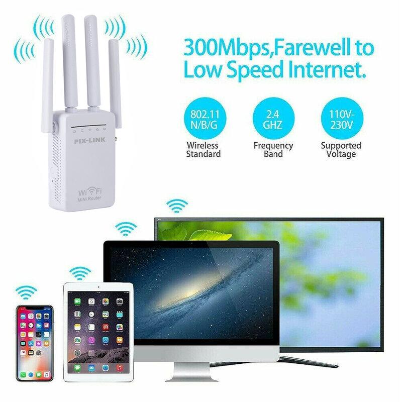 WR09Q واي فاي المدى موسع 300Mbps مُعزز إشارة WiFi مكبر للصوت 2.4GHz اللاسلكية واي فاي مكرر إشارة معززة للمنزل مكتب