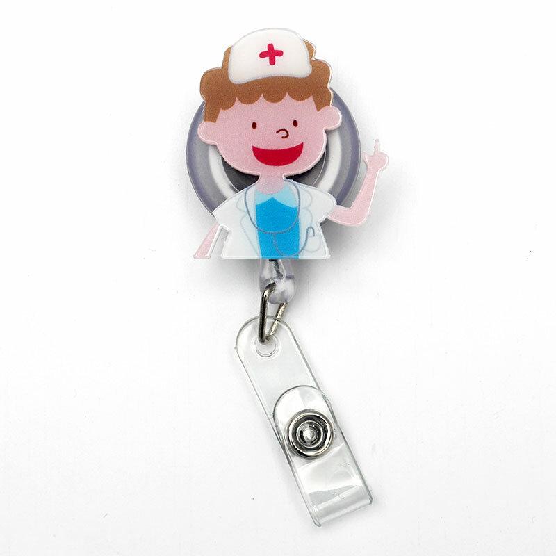 مستشفى طبيب قابل للسحب الإبداعية شارة بلاستيكية حامل بكرة الطلاب ممرضة معرض Enfermera فتاة بوي اسم بطاقة بطاقة الصدر