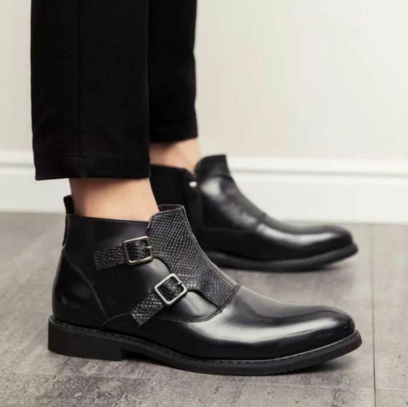 جديد موضة الرجال عالية الجودة بولي Leather الجلود الجرموق الأعمال فستان أحذية مزدوجة مشبك الراهب الأحذية الكلاسيكية النمط البريطاني KA635