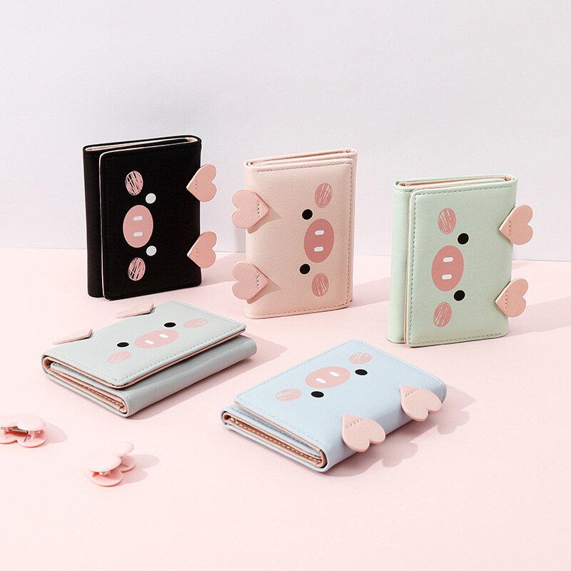 محفظة نسائية بتصميم خنزير كارتوني لطيف جديد لعام 2021 محفظة نسائية من الجلد الصناعي محفظة ثلاثية الطي للسيدات محافظ نقود صغيرة للسيدات